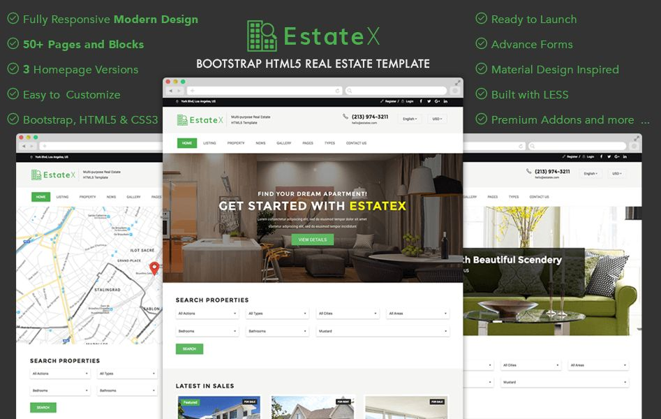 EstateX - Bootstrap HTML Real Estate Website Template | GrayGrids