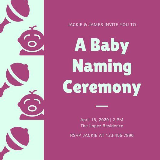 Pink Cute Baby Naming Ceremony Invitation - Templates by Canva