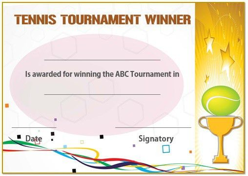 25 Free Tennis Certificate Templates - Download, Customize & Print ...
