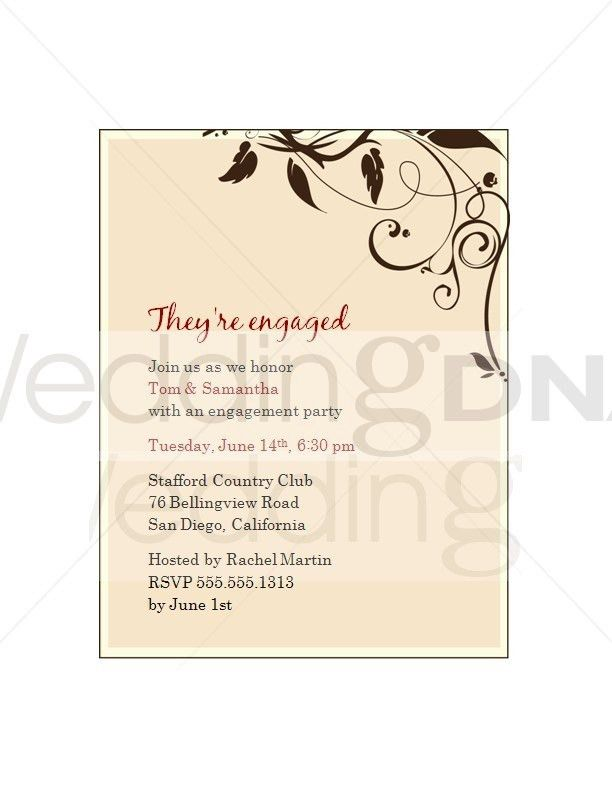 Engagement Party Invitation Wording Template | Best Template ...