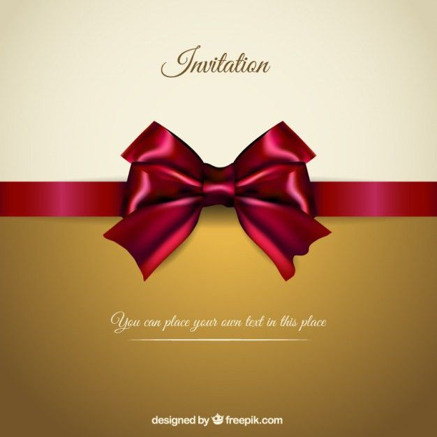 Elegant invitation with a red ribbon | free vectors | UI Download