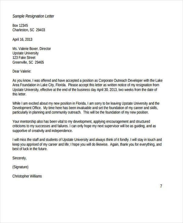 6+ Board Resignation Letter Template - 6+ Free Word, PDF Format ...