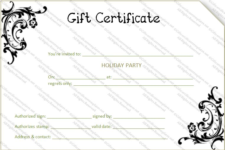 Black Flower Gift Certificate Template - Gift Certificates