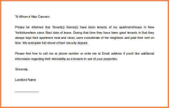 5+ landlord reference letter | Adjustment Letter