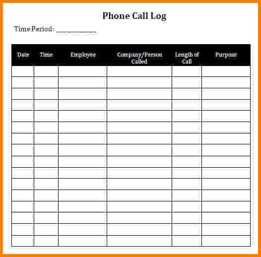 6 phone call log template | Receipt Templates