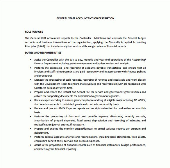 Staff Accountant Job Description  LondaBritishcollegeCo