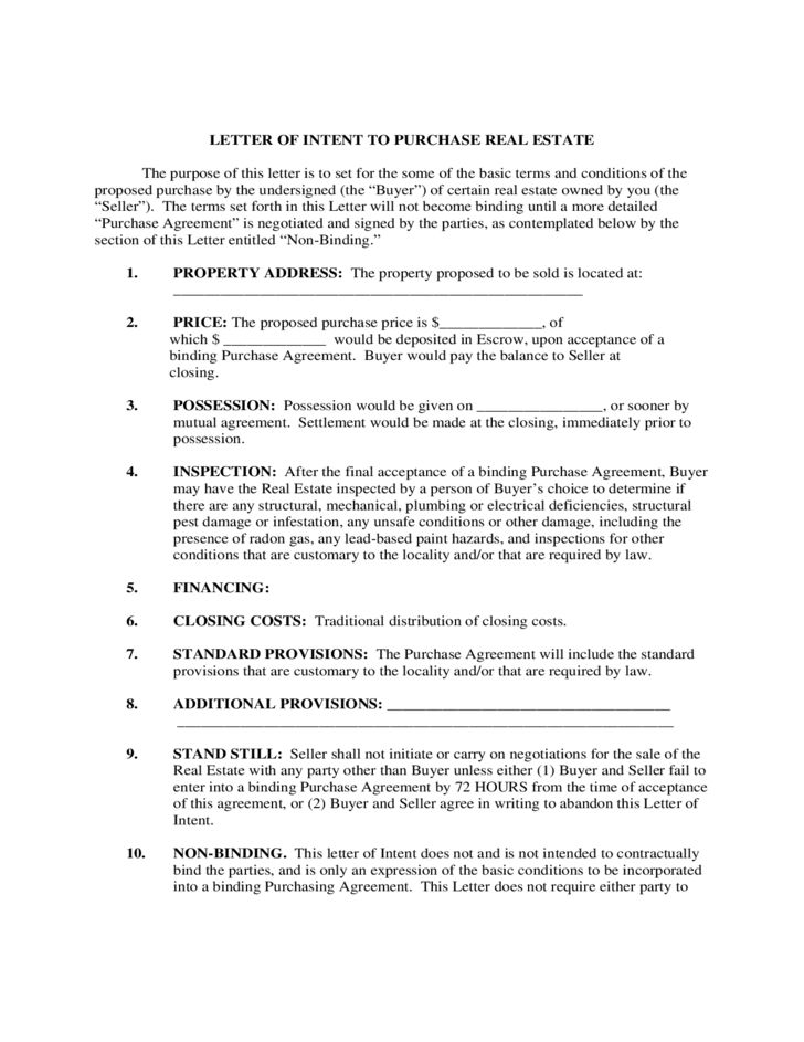 Letter of Intent to Purchase Real Estate Free Download