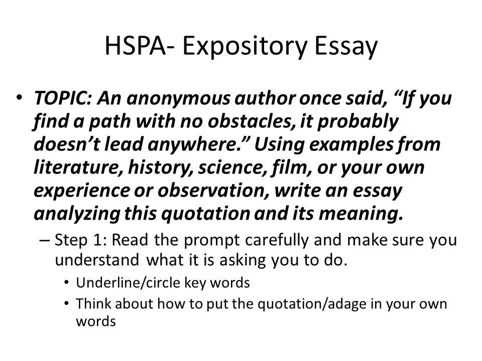 List of expository essay topics