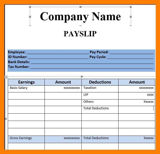 Basic payslip template excel