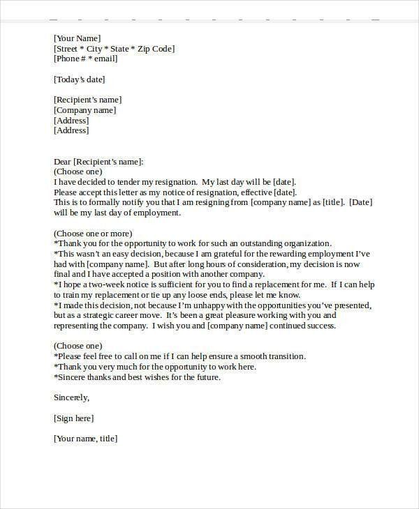 Heartfelt Resignation Letter Template - 7+ Free Word, PDF Format ...