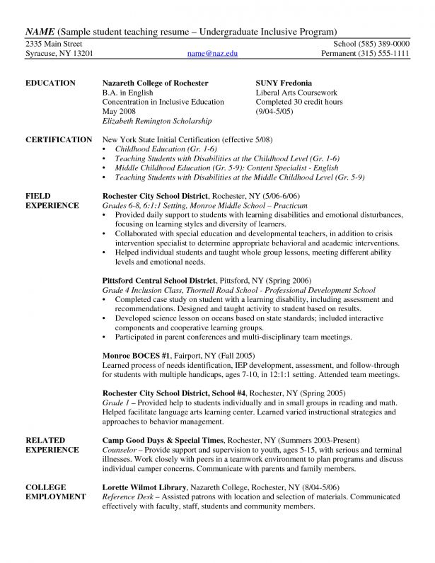 Download Undergraduate Student Resume Sample ...