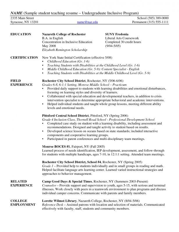 Download Undergraduate Student Resume Sample ...