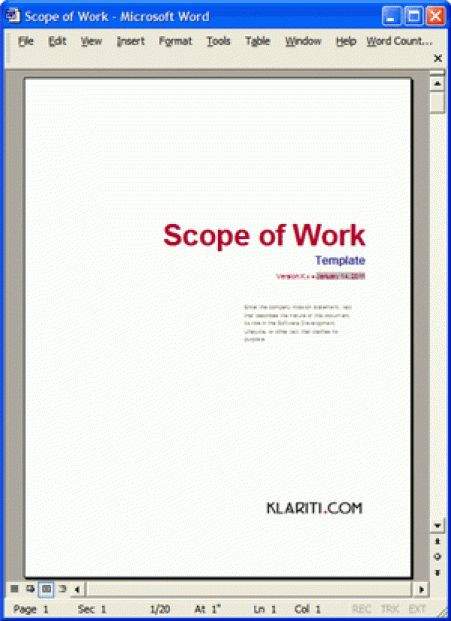 6 Scope Of Work Templates | Free Sample Templates