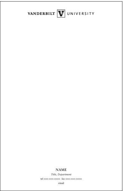 Stationery   Examples   Graphic Standards   Vanderbilt University