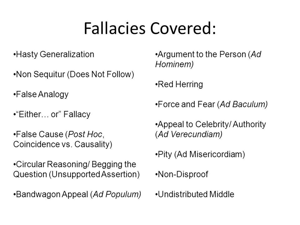 Common Logical Fallacies Flawed Arguments. Logical Fallacies… Copy ...