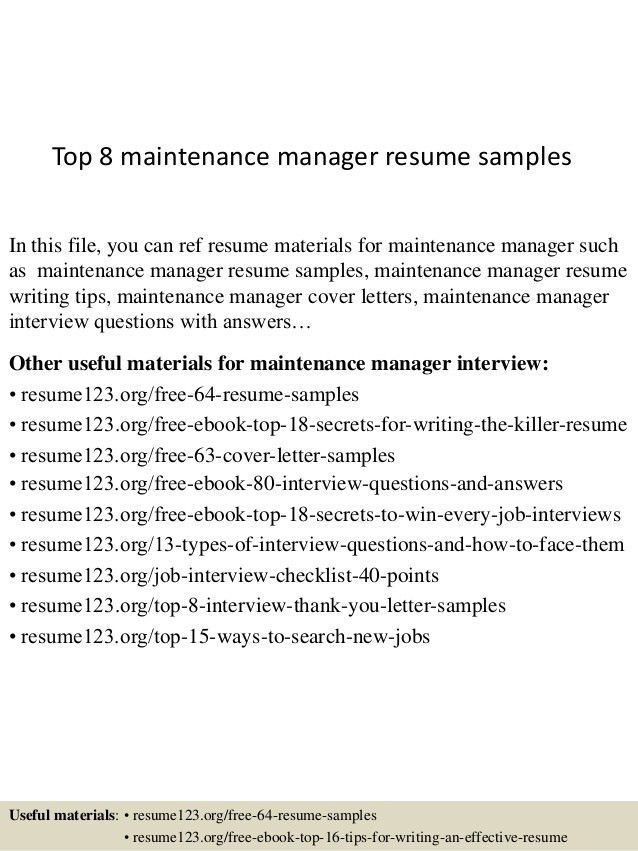 Download Maintenance Manager Resume | haadyaooverbayresort.com