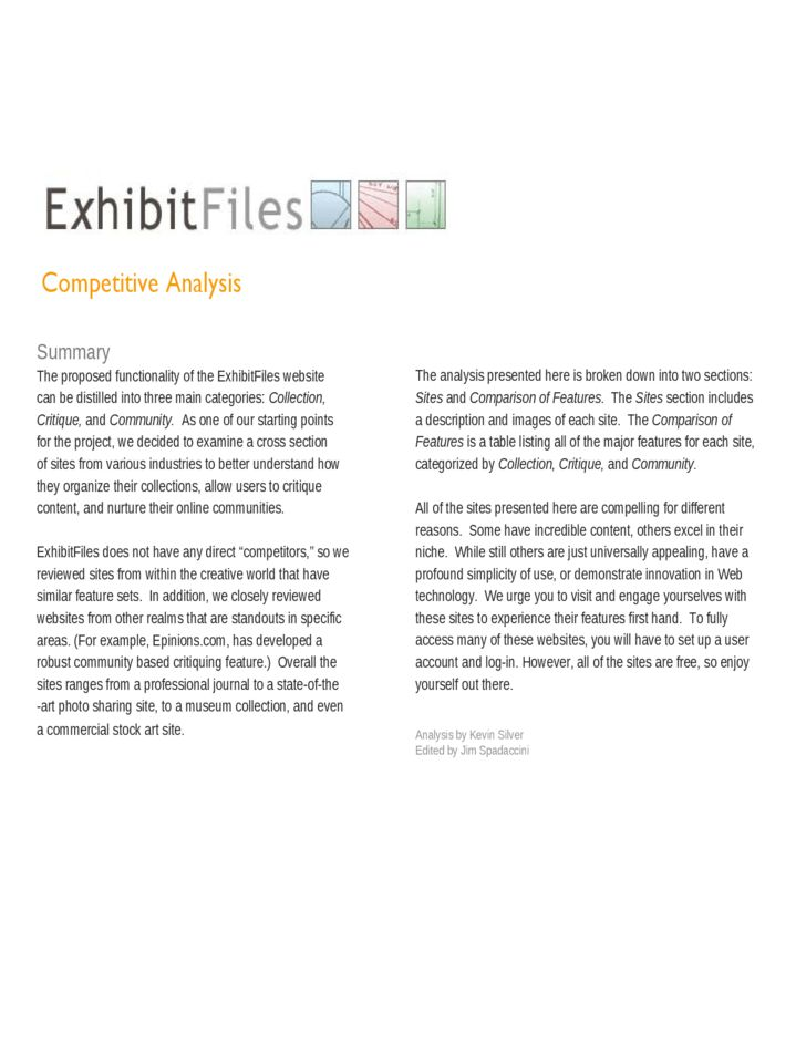 Competitive Analysis Sample Free Download