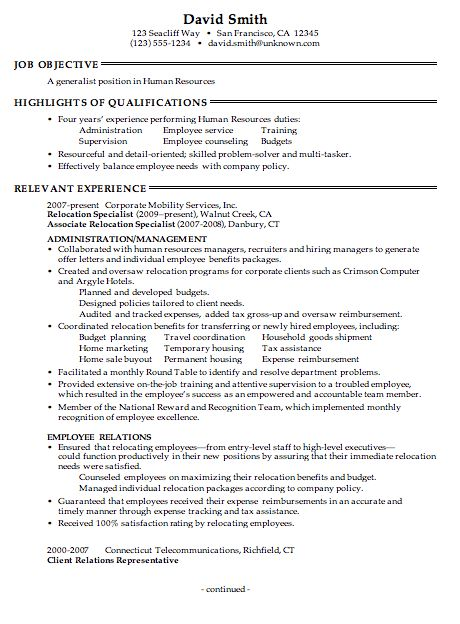 Resume for a Human Resources Generalist - Susan Ireland Resumes