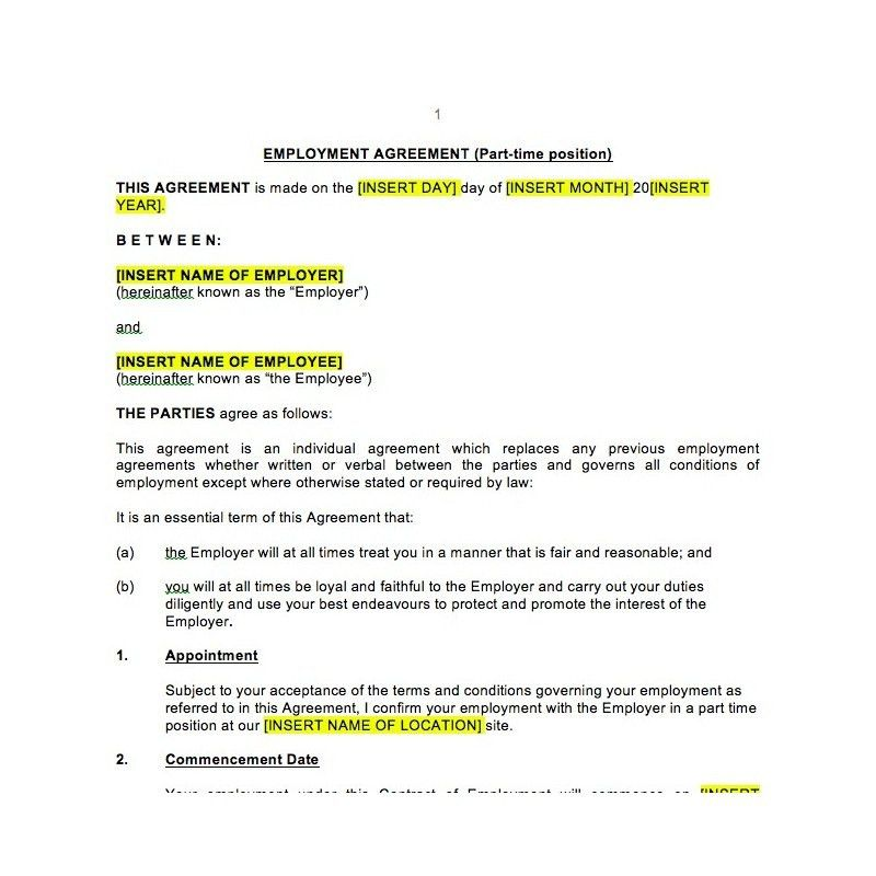 Part Time Employment Contract | Law4Us Contract Template