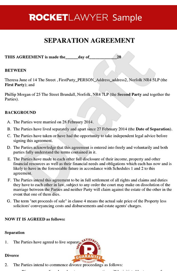 Agreement - Separation Agreement Template (Form)