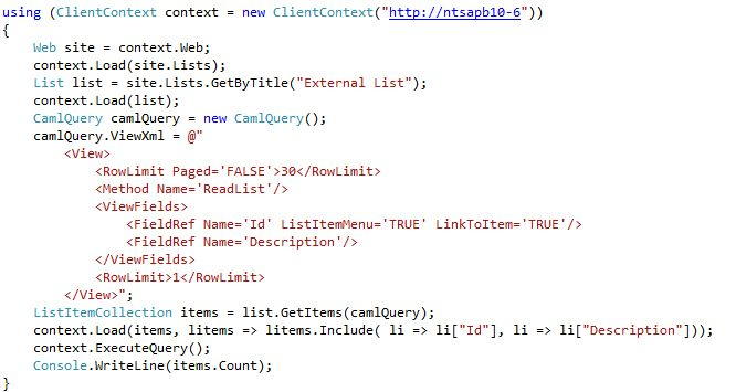 External list and client object model: The given key was not ...
