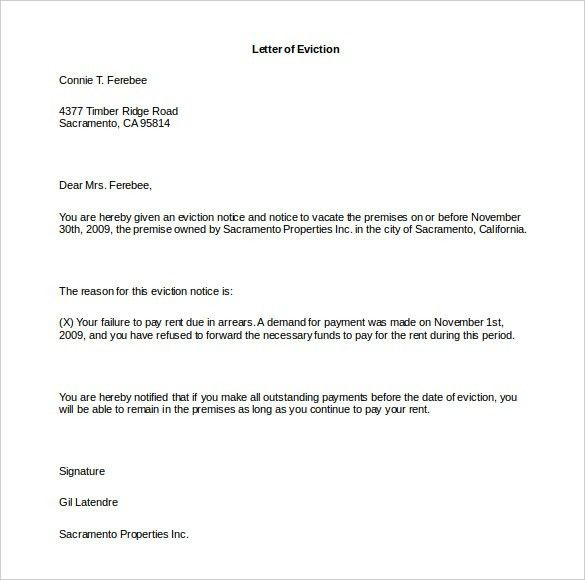 Eviction Letter Template – 8+ Free Word, PDF Documents Download ...