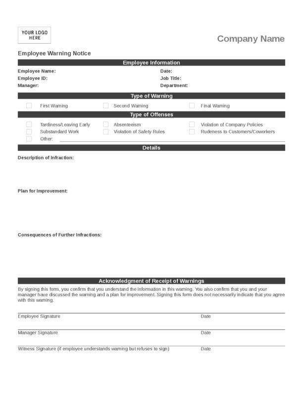 Employee Write Up Form | LegalForms.org