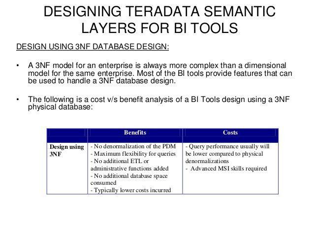 Designing Teradata Semantic for BI Tools
