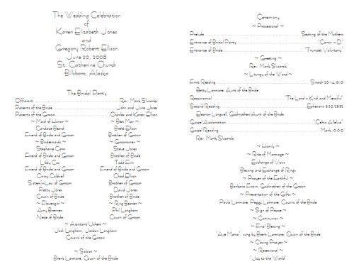 sample wedding ceremony program