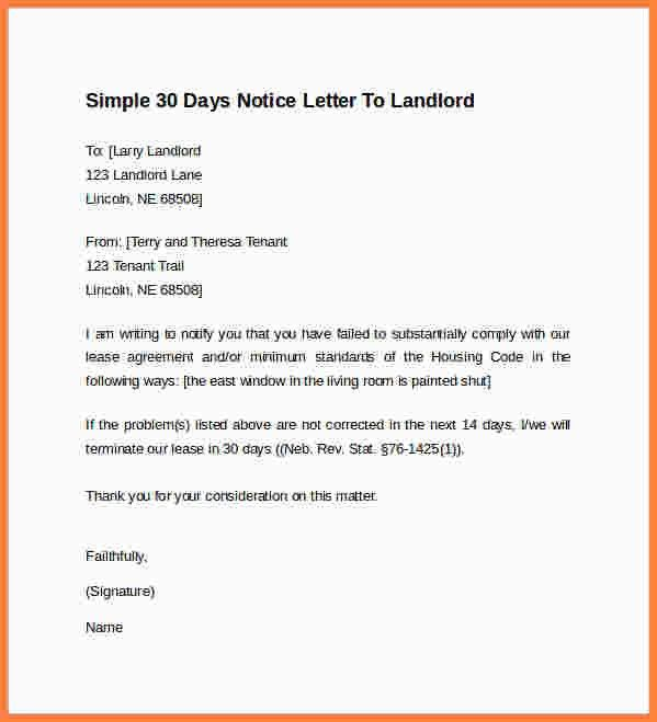 9+ 30 day notice letter to landlord | Second Notice Letter