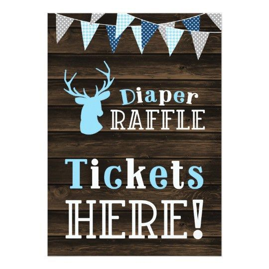 Rustic Wood Blue Deer Diaper Raffle Ticket Sign Card | Zazzle.com