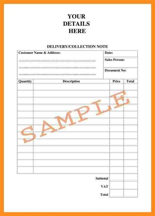 Delivery Note Templates. Courier Delivery Note Example Template ...