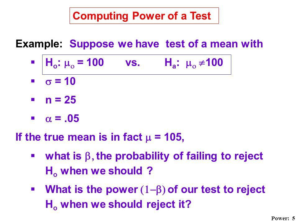 Hypothesis Testing: Type II Error and Power. - ppt video online ...