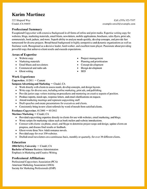 copywriter resume samples senior copywriter resume samples