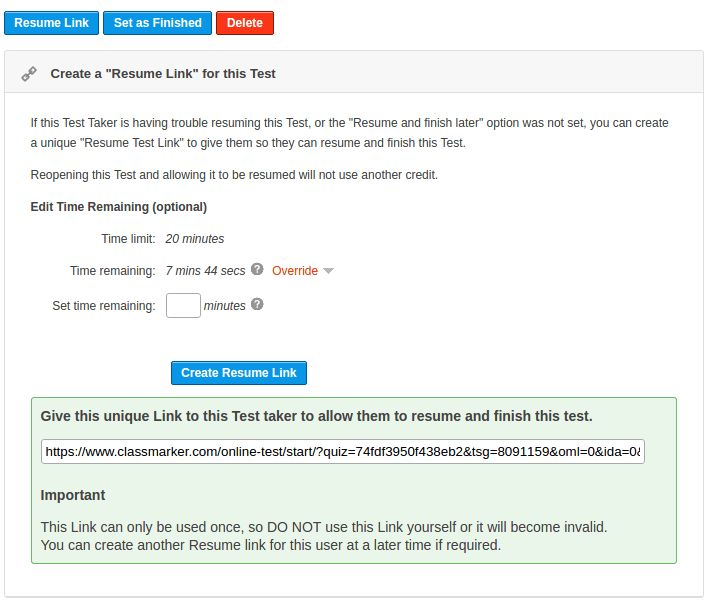 Create a 'Resume Quiz' Link ClassMarker