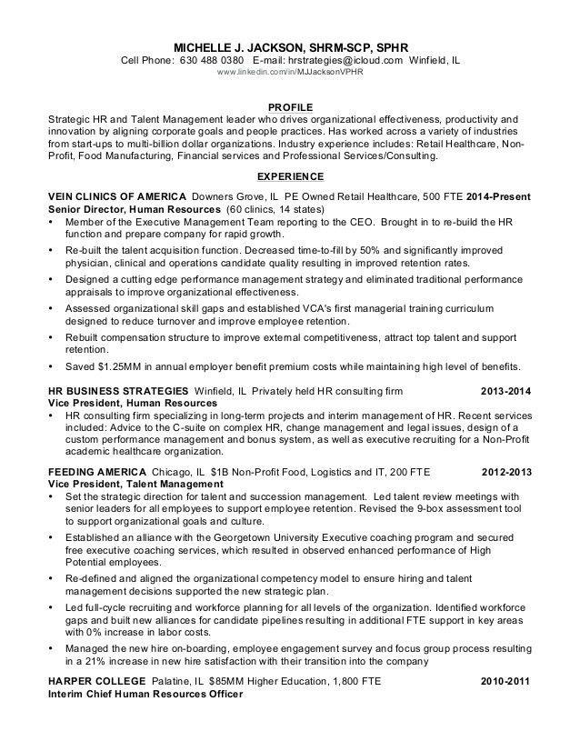 Michelle Jackson VP HR Resume