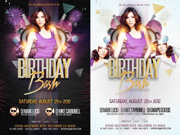 17 Birthday Flyer Free PSD Images - Birthday Party Flyer Templates ...