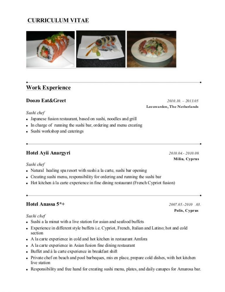 100+ [ Sample Chef Resume ] | Bartender Resume Example Chef Resume ...