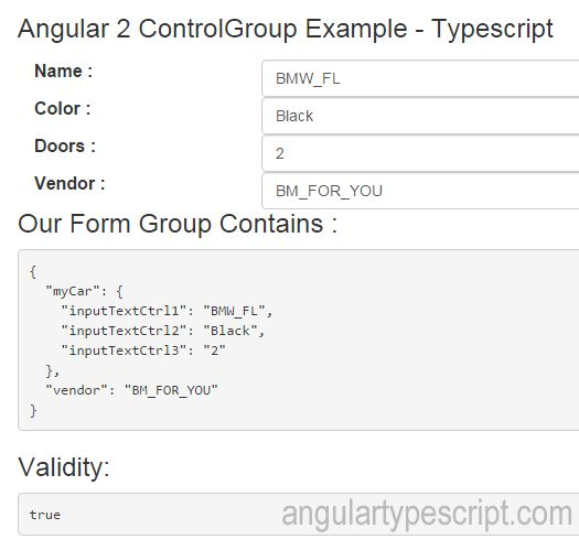 Angular 2 ControlGroup Example - AngularTypescript