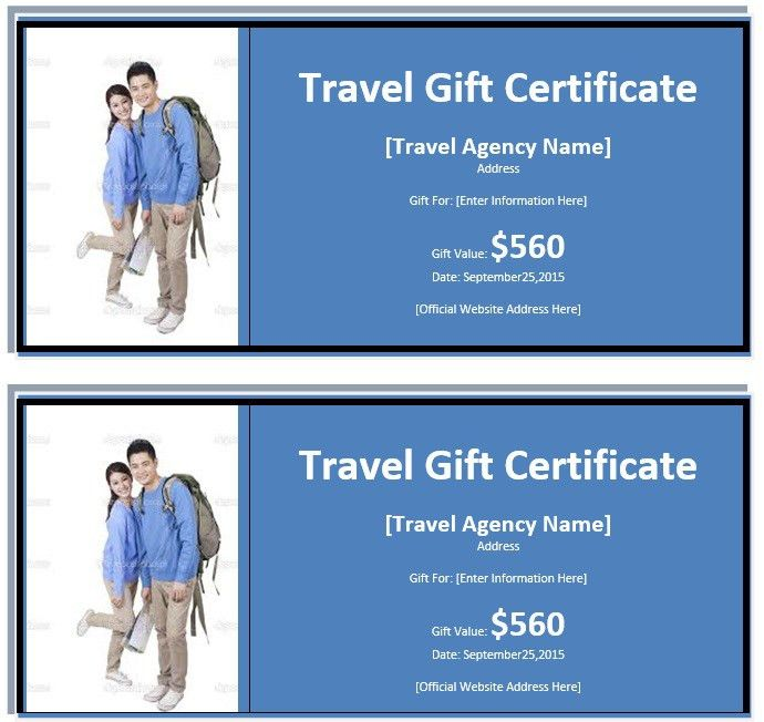 7 Free Sample Travel Gift Certificate Templates – Printable Samples