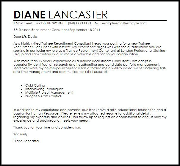 Trainee Recruitment Consultant Cover Letter Sample | LiveCareer
