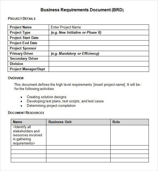 Sample Business Requirements Document - 6+ Free Documents In PDF, Word