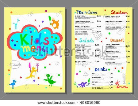 Cute Colorful Kids Meal Menu Vector Stock Vector 297999926 ...