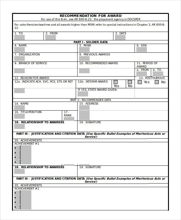 Sample DA Form - 7+ Examples in PDF, Word