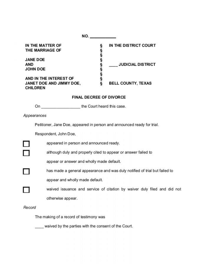 7 Texas Divorce Papers Document Forms Free 21 ~ Lotcos