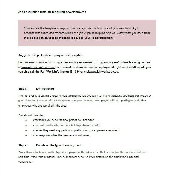 Job Description Template – 47+ Free Word, Excel, PDF Format ...