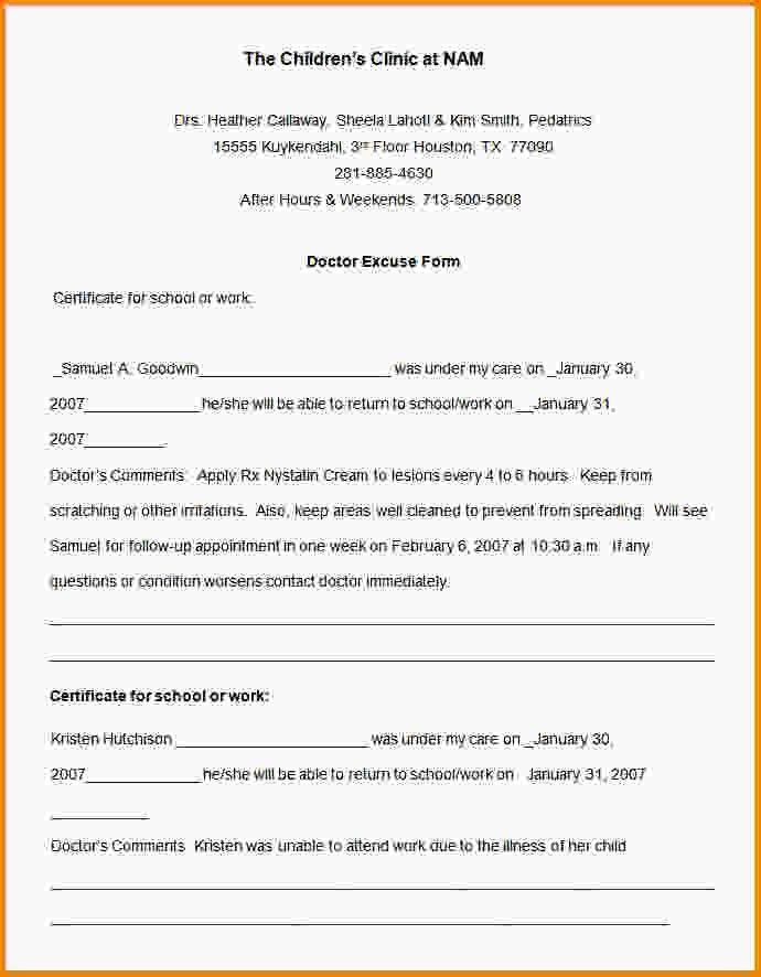 Kaiser Doctors Note Template - Contegri.com