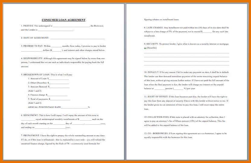 7+ free loan agreement template | Itinerary Template Sample