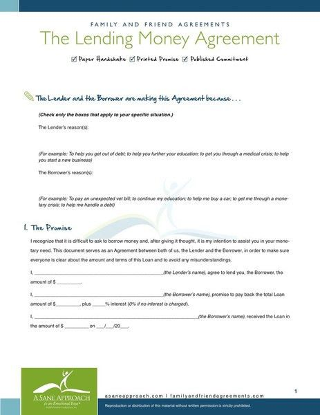 Sample Agreement Letter Between Two Parties Lending Money Pdf ...