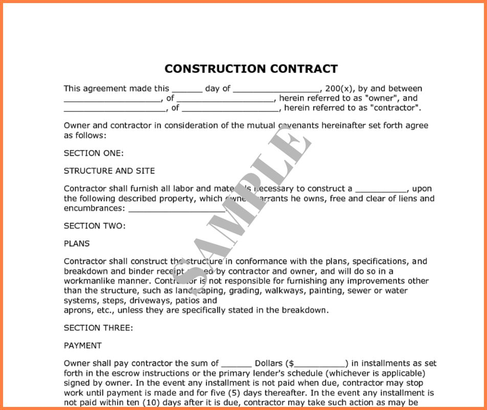 Sample Construction Contracts.bid Packet For Construction ...